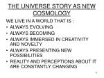 the universe story as new cosmology11