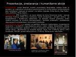 prezentacije predavanja i humanitarne akcije