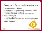 expense receivable monitoring