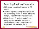 reporting invoicing preparation