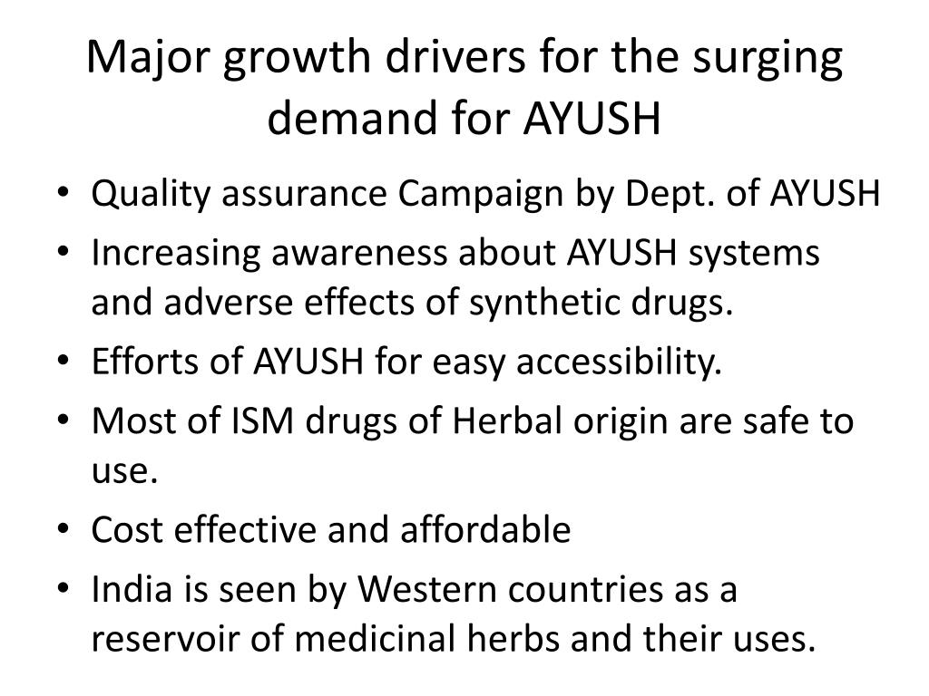 Major growth drivers for the surging demand for AYUSH