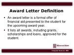 award letter definition