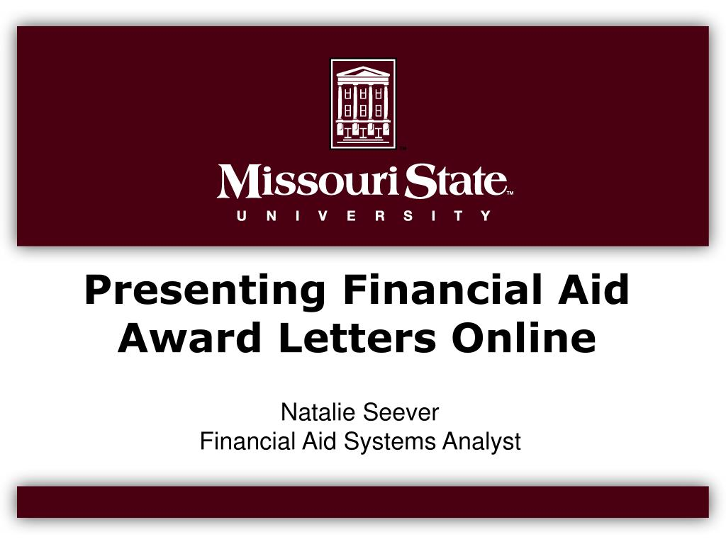 presenting financial aid award letters online l.