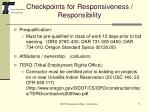checkpoints for responsiveness responsibility