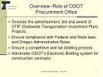 overview role of odot procurement office