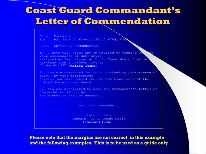 Ppt award writing made easy powerpoint presentation id182029 coast guard commandants letter of commendation spiritdancerdesigns Image collections