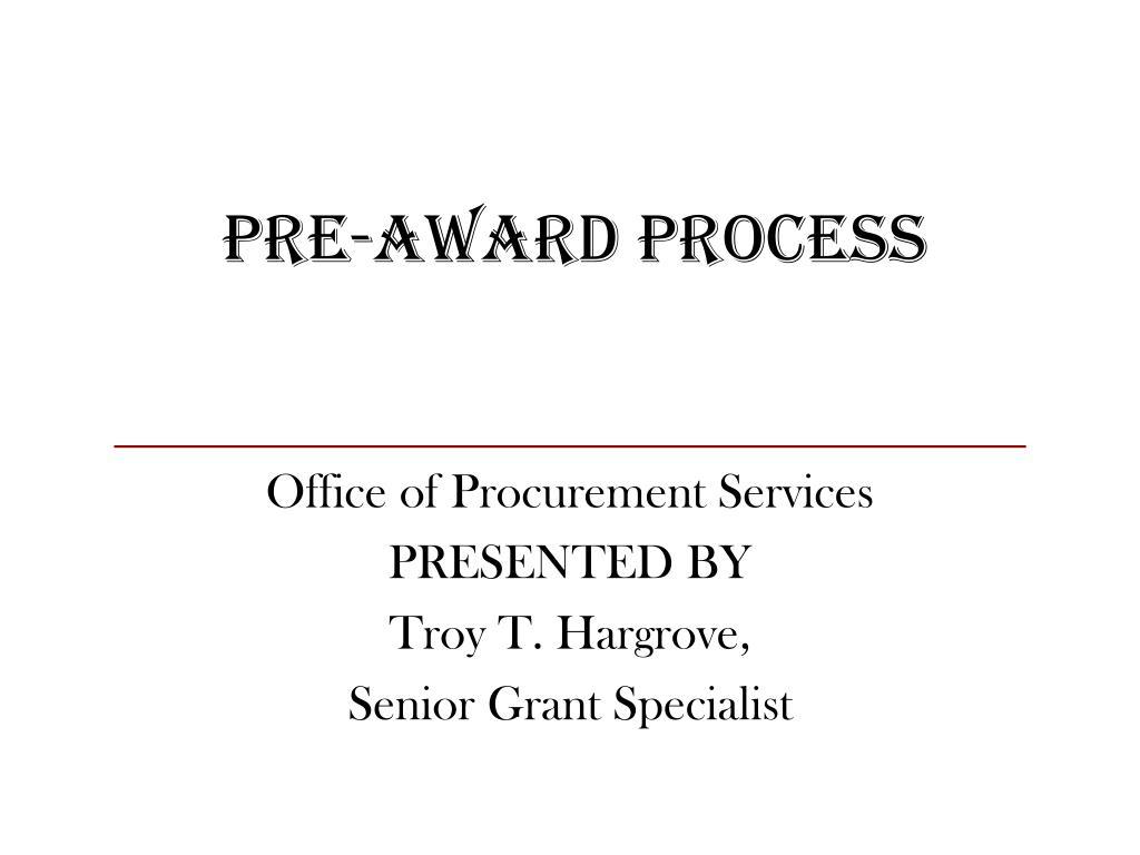 pre award process l.