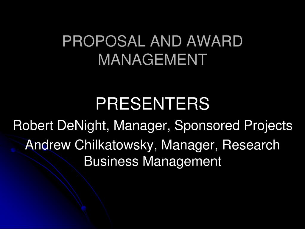 proposal and award management l.