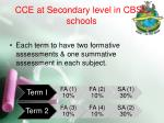 cce at secondary level in cbse schools