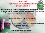 what is continuous comprehensive evaluation