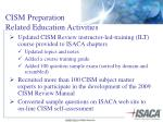 cism preparation related education activities
