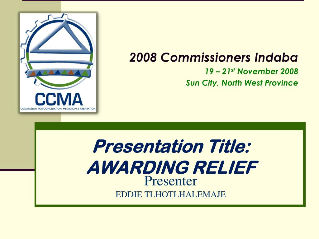 presentation title awarding relief l.