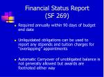 financial status report sf 269