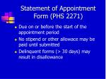 statement of appointment form phs 227131
