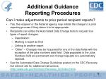 additional guidance reporting procedures39