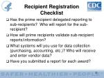 recipient registration checklist