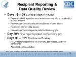 recipient reporting data quality review
