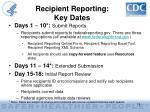 recipient reporting key dates