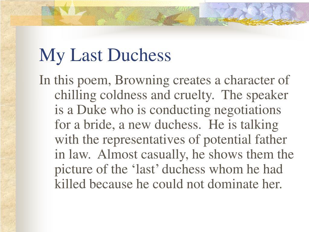 my last duchess l.