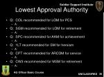 lowest approval authority26