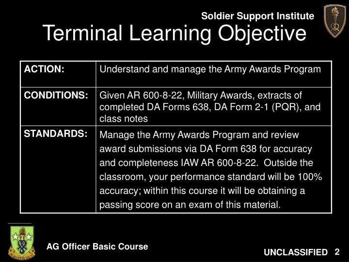 Ppt army awards program powerpoint presentation id182067 terminal learning objective toneelgroepblik Choice Image