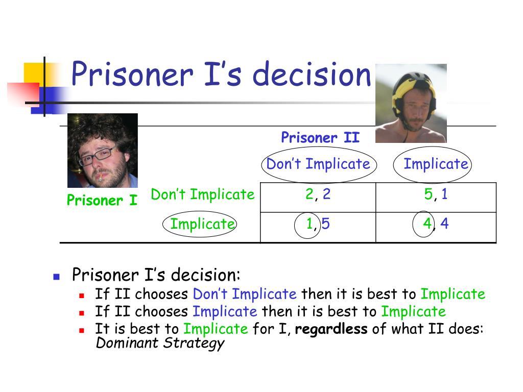 Prisoner I's decision