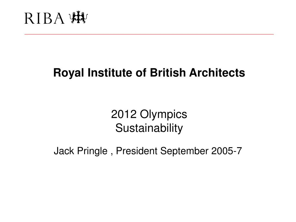 royal institute of british architects 2012 olympics sustainability l.