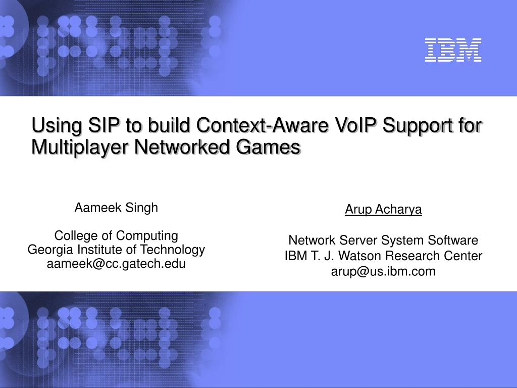 using sip to build context aware voip support for multiplayer networked games l.