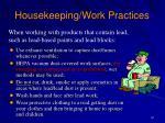 housekeeping work practices