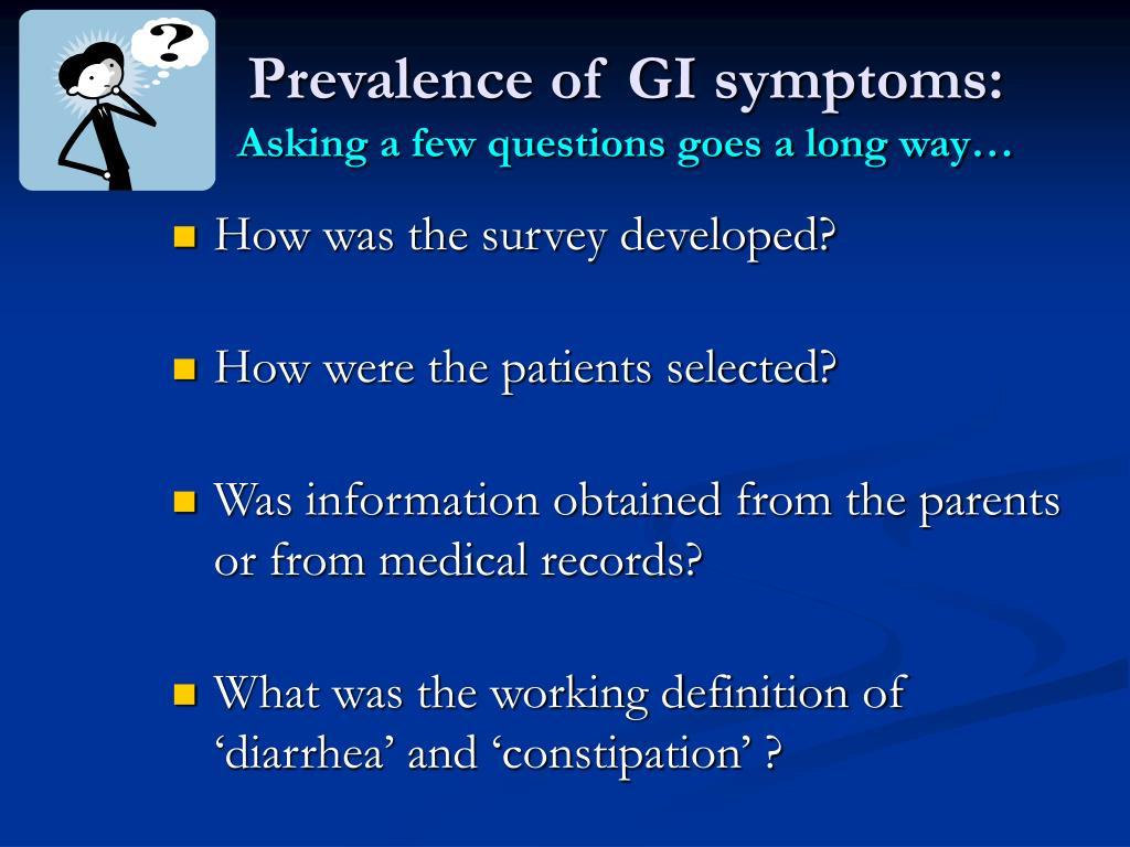 Prevalence of GI symptoms: