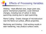 effects of processing variables