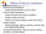 effects of service conditions