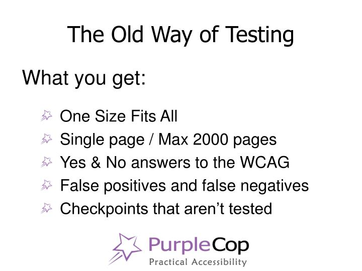The old way of testing3