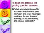 to begin this process the guiding question becomes