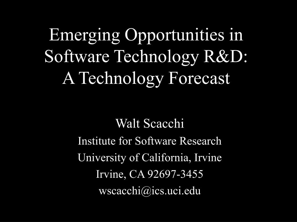 emerging opportunities in software technology r d a technology forecast l.