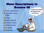 menu descriptions to beware of