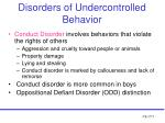 disorders of undercontrolled behavior12