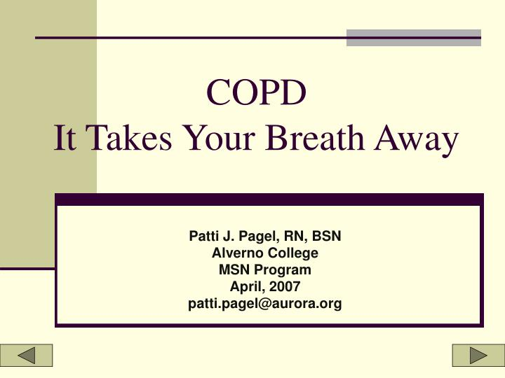 copd it takes your breath away n.
