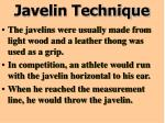 javelin technique