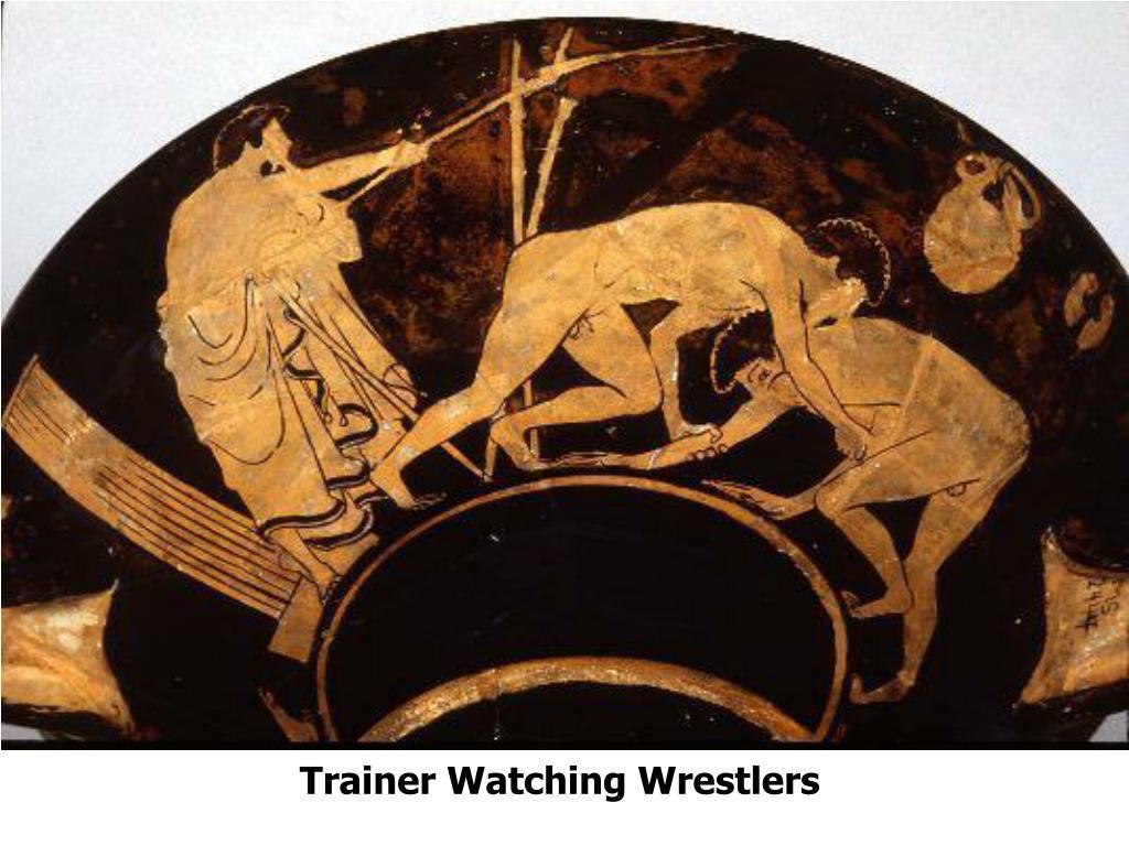 Trainer Watching Wrestlers