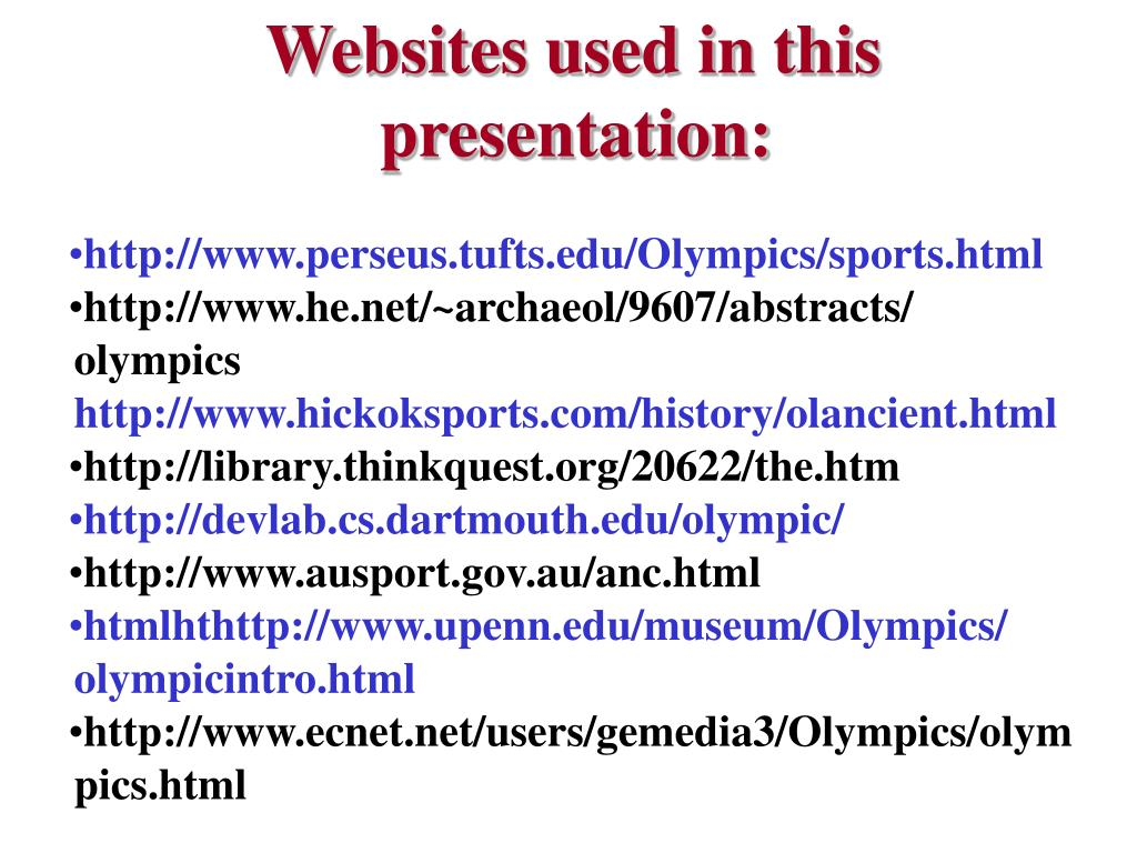 Websites used in this presentation: