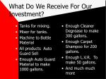 what do we receive for our investment