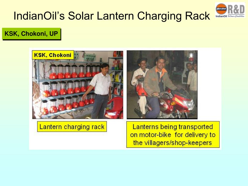 IndianOil's Solar Lantern Charging Rack