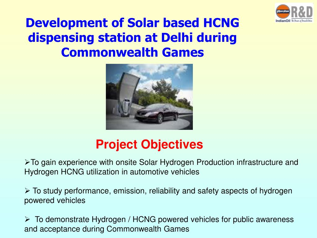 Development of Solar based HCNG dispensing station at Delhi during Commonwealth Games