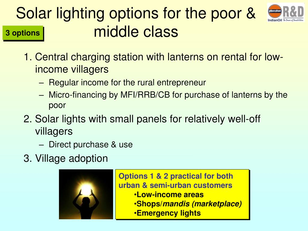 Solar lighting options for the poor & middle class
