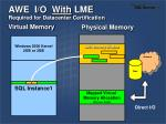 awe i o with lme required for datacenter certification