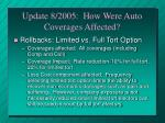 update 8 2005 how were auto coverages affected