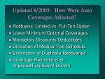 updated 8 2005 how were auto coverages affected