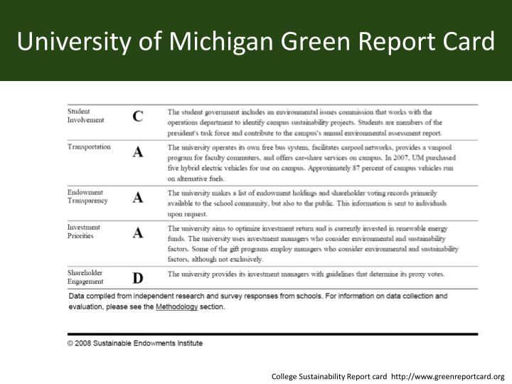 University of Michigan Green Report Card