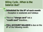 billing cycle when is the balance due